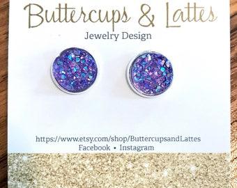 Violet Druzy Stud Earrings 12mm, Purple Druzy Earrings