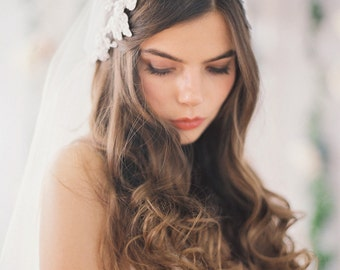 Beaded Lace Juliet Veil, Bridal Cap Veil with Lace, Double Layer, Iovry or White #708V