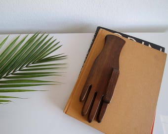 VINTAGE Wood Hand Mid Century Home Décor Object Paper Weight Art