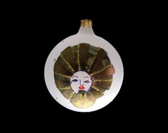 Vintage Laved Limited Edition Frosted Ball Holiday Ornament with Hand Painted Face Made in Italy