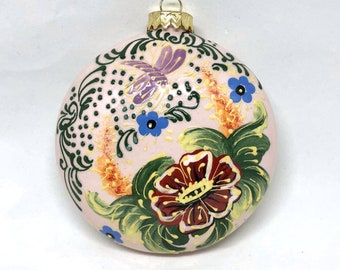 Dragonfly and Flowers Hand Painted Christmas Ornament