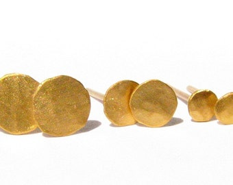 Tiny Solid 24k Yellow Gold studs - Pure Gold Post Earrings - 3 mm - Made To Order (within few days).
