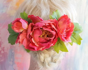Comb with pink peonies haircomb festival raceday floral fascinator pink flower