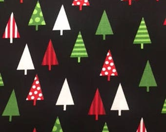 170105 Jingle 4 Christmas Trees in Black by Robert Kaufman Textiles