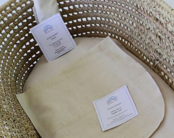 Moses Basket, 100% Organic Cotton Futon, 2 Organic Fitted Sheets and wool puddle pad - choose your fabric