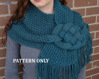 PATTERN: Misty Mornings - Celtic Knot Scarf.              chunky knit scarf patter, cowl scarf, celtic knot, knit scarf, cabled scarf, diy