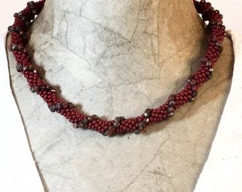 Burgundy/dark red bead crochet necklace