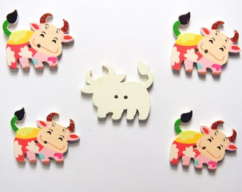 LOT 5 wood buttons: cow 34 * 27mm (03)