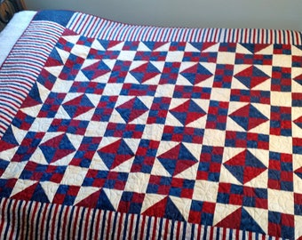 Patriotic Homemade Scrap Quilt - Twin Size or Throw Quilt