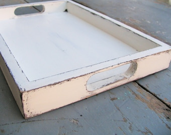 Serving Tray 12x8 White Shabby chic Home decor Accessory coffee table Office and Home Organization Party Table