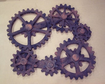Kinetic Wall Art Faux Rust Wooden Gears Wood Gear Decor Moving Set Working