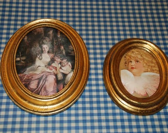 Picture frame gold frame made of wood-original 80s vintage-2 pieces
