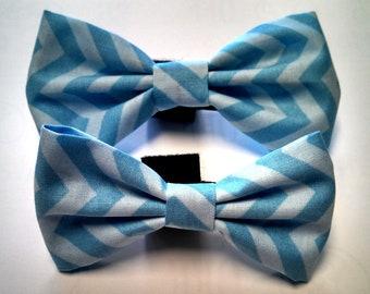 Blue Chevron - Bow Tie or Flower