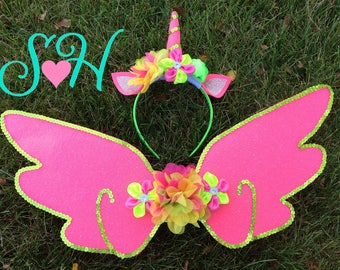 Bright and Colorful Unicorn Headband and Wings Costume Set- One Size fits Most, Child to Adult {Neon Pink and Lime Green} OOAK