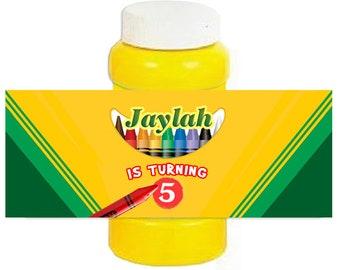 Crayon / Crayola personalized Birthday Bubble Bottle Labels 4oz