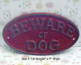 Beware of Dog Oval Cast Iron Sign Smaller Design Colonial Heritage Red Wall Gate Fence Door House Decor Warning Plaque Shabby Elegance