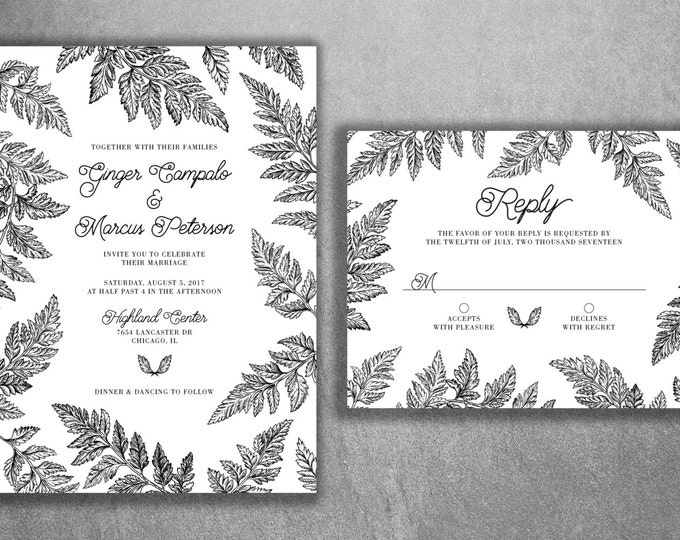Black and White Fern Wedding Invitations Set Printed - Green, Vintage, Leaves, Classy, Classic, Tropical, Leaf Border, RSVP