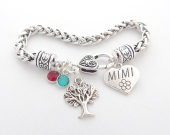 MIMI BRACELET, Gifts for Mimi, Mimi Jewelry, Grandmother Family Tree Bracelet, Gift from Grandchildren, Birthstones Bangle, Mothers Day Gift