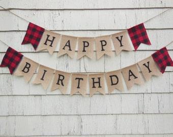 Lumberjack Birthday Decorations, Lumberjack Banner, First Birthday Decor, Lumberjack Party Decor, Lumberjack First Birthday, Buffalo Plaid