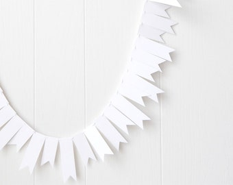 White Flag Garland / White Wedding Bunting / Wedding garland / Party Decor / Photo Prop