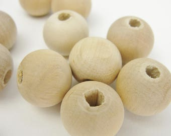 """Wooden bead, 5/8"""" (.62"""") 16mm wooden bead, unfinished bead"""