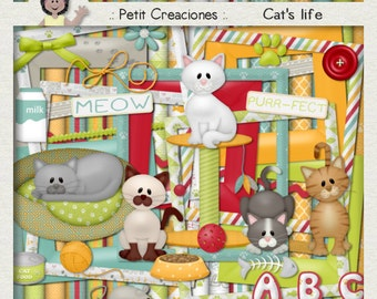 "KIT SCRAPBOOKING DIGITAL ""Cat's life"""
