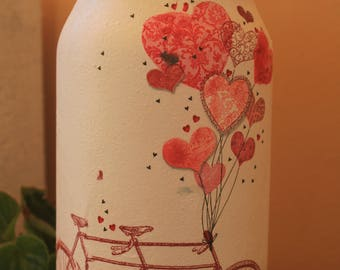 decoupage vase with bicycle 0022