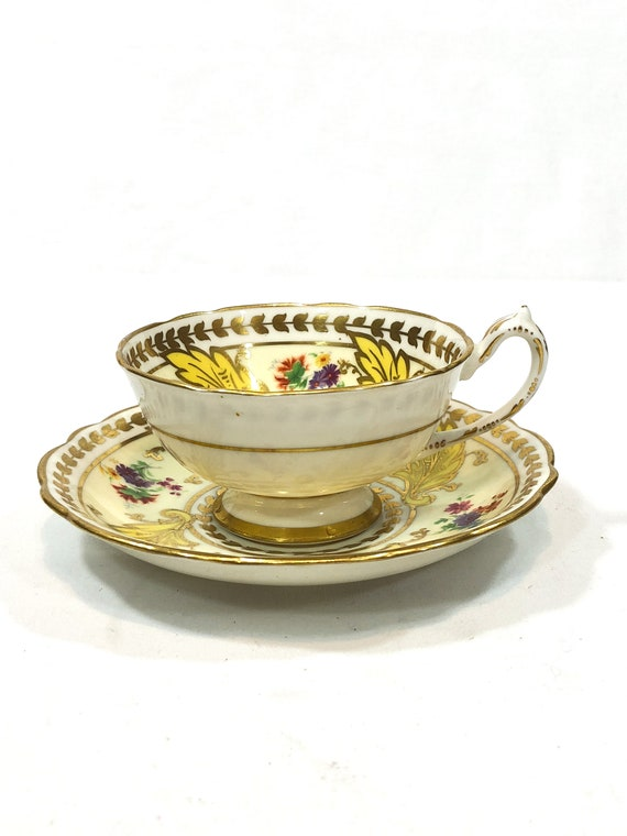 Antique English Tea Cup  & Saucer, Rare 1920s Star Paragon Teacup, Hand Painted Flowers, Yellow Leaves Cream, Wide Gilded Rims Foliate Motif