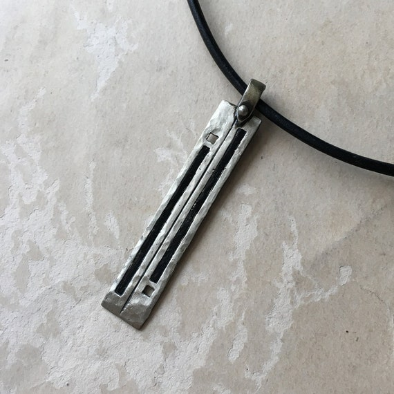 Rectangle Pendant, White Bronze and Leather, Copper and Leather, Unisex Gift