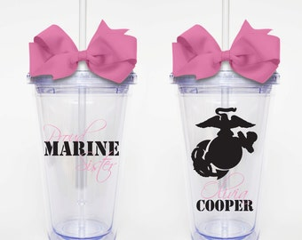Proud Marine Sister - Acrylic Tumbler Personalized Cup