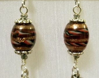 Brown and Gold Barrel Beads with Silver Hearts and Accent Earrings