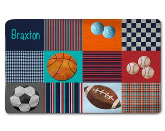 Custom Personalize Plaid Sports Ball Plush Fuzzy Area Rug - Size 48x30, 60x48,  96x44, and 96x60 inches