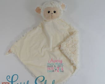 Personalized Lamb, Birth Stats Lovey, Lamb Lovey, Lovey Blanket, Security Blanket, Personalized Lovey, Personalized Security Blanket