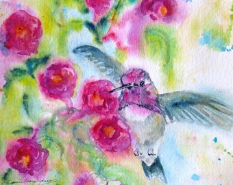 hummingbird art print, bird watercolor, giclee print painting, fuschia flowers art print, wall decor, Janice Trane Jones, garden painting