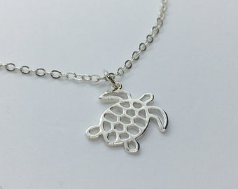 Sterling Silver Detailed Sea Turtle Necklace, Tortuga del Mar Jewelry, Sea Turtle Art, Custom Chain Length, Makes A Unique Gift!