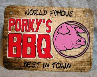 Metal Sign PORKY'S BBQ barbecue grill shack pit restaurant smoker ribs brisket master griller smoking meat barby barbie pulled pork