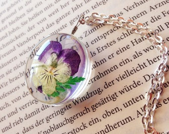 """Pendant """"Pansy Fern"""" real flower and fern in resin"""