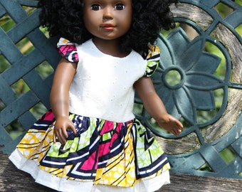 """African Doll Dress for 18"""" Dolls. Pink, Yellow And Green African print"""