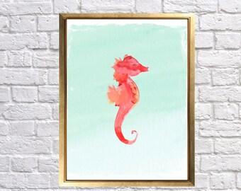 Seahorse Art Print, Coral and Mint Seahorse, Bathroom Wall decor, watercolor seahorse, Beach cottage decor, baby nursery art, Lily Nursery