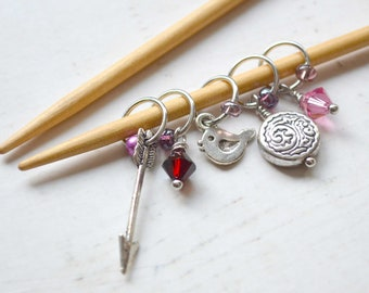 Knitting Stitch Marker Set - Warrior Princess / Snag Free / Small Medium Large Sizes Available