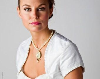 Gabrielle   Silk Dupioni wedding bolero with capped sleeve