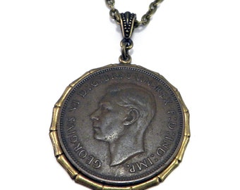 Vintage Coin Necklace, Antique British Coin King George, Copper and Brass, Industrial Steampunk Jewelry by Compass Rose Design