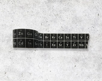 Black -The Periodic Table of Elements Washi Tape - Chemistry Stationary Planner Tape - Science Washi Tape