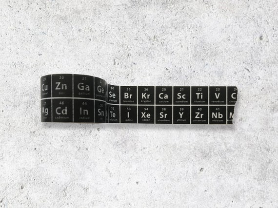 black the periodic table of elements washi tape chemistry