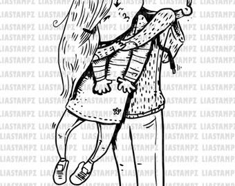 Digital stamp -Boy Hug.  digistamp. Birthday digi stamp.Brothers stamp.BFF digital stamp. LiaStampz