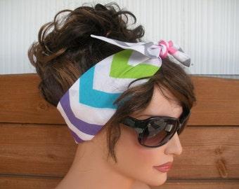 Womens Headband Dolly Bow Headband Retro Summer Fashion Accessories Women Head scarf Headwrap in Multicolor Chevron