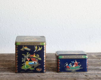 Set of 2 England Asian design Dark Blue Collectible Tins, Daher Long Island Can, Vintage Metal Tin, Blue Container