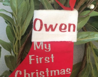 Personalized Christmas Stocking Ornament- Babies First Christmas