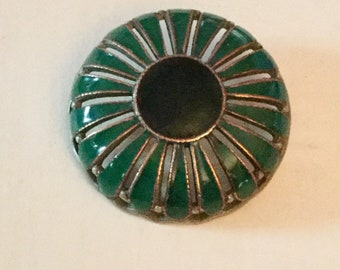 Large Blue Green Enamel Antique Openwork Metal Button Old Stylized Flower