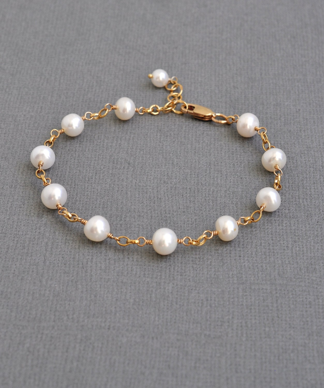 heart detachable pearl with charm bracelet